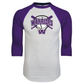 White/Purple Raglan Baseball T Shirt-Softball Bats and Plate Design