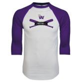 White/Purple Raglan Baseball T Shirt-Baseball Crossed Bats Design