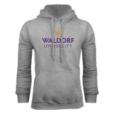 Grey Fleece Hood-Waldorf University Academic Mark Stacked