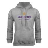 Grey Fleece Hoodie-Waldorf University Academic Mark Stacked