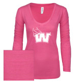 ENZA Ladies Hot Pink Long Sleeve V Neck Tee-Waldorf W