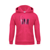 Youth Raspberry Fleece Hoodie-Waldorf W Foil