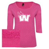 Ladies Dark Fuchsia Heather Tri Blend Lace 3/4 Sleeve Tee-Waldorf W