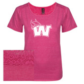 Ladies Dark Fuchsia Heather Tri-Blend Lace Tee-Waldorf W