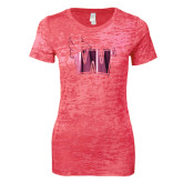 Next Level Ladies Junior Fit Fuchsia Burnout Tee-Waldorf W Foil