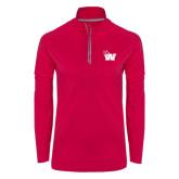 Ladies Pink Raspberry Sport Wick Textured 1/4 Zip Pullover-Waldorf W