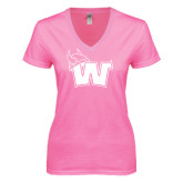 Next Level Ladies Junior Fit Deep V Pink Tee-Waldorf W