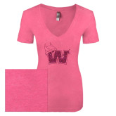 Next Level Ladies Vintage Pink Tri Blend V-Neck Tee-Waldorf W