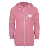 ENZA Ladies Hot Pink Marled Full Zip Hoodie-Waldorf W
