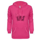 ENZA Ladies Hot Pink V Notch Raw Edge Fleece Hoodie-Waldorf W