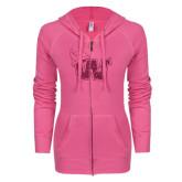 ENZA Ladies Hot Pink Light Weight Fleece Full Zip Hoodie-Waldorf W