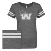 ENZA Ladies Dark Heather/White Vintage Triblend Football Tee-Waldorf W