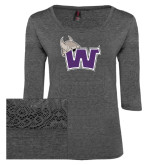 Ladies Charcoal Heather Tri Blend Lace 3/4 Sleeve Tee-Waldorf W