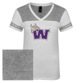Ladies White/Heathered Nickel Juniors Varsity V Neck Tee-Waldorf W
