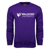 Purple Fleece Crew-Waldorf University Academic Mark Flat