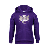 Youth Purple Fleece Hoodie-Softball Bats and Plate Design