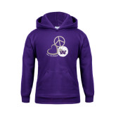 Youth Purple Fleece Hoodie-Peace, Love and Volleyball Design