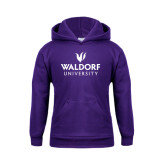 Youth Purple Fleece Hoodie-Waldorf University Academic Mark Stacked
