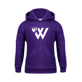 Youth Purple Fleece Hoodie-Waldorf W Academic Mark