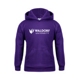 Youth Purple Fleece Hoodie-Waldorf University Academic Mark Flat