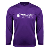 Performance Purple Longsleeve Shirt-Waldorf University Academic Mark Flat