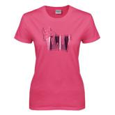 Ladies Fuchsia T Shirt-Waldorf W Foil