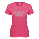 Ladies Fuchsia T Shirt-Waldorf W Rhinestones