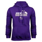 Purple Fleece Hoodie-Soccer Swoosh Design
