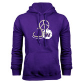 Purple Fleece Hood-Peace, Love and Volleyball Design