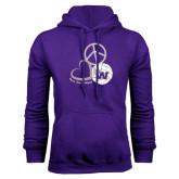 Purple Fleece Hoodie-Peace, Love and Volleyball Design