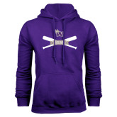 Purple Fleece Hood-Baseball Crossed Bats Design