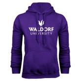 Purple Fleece Hood-Waldorf University Academic Mark Stacked