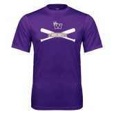 Syntrel Performance Purple Tee-Baseball Crossed Bats Design