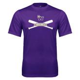 Performance Purple Tee-Baseball Crossed Bats Design