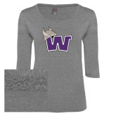 Ladies Grey Heather Tri Blend Lace 3/4 Sleeve Tee-Waldorf W