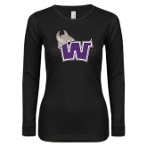 Ladies Black Long Sleeve V Neck T Shirt-Waldorf W