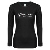 Ladies Black Long Sleeve V Neck Tee-Waldorf University Academic Mark Flat