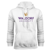 White Fleece Hood-Waldorf University Academic Mark Stacked
