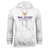 White Fleece Hoodie-Waldorf University Academic Mark Stacked