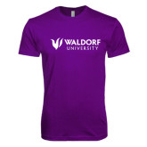 Next Level SoftStyle Purple T Shirt-Waldorf University Academic Mark Flat