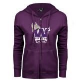 ENZA Ladies Purple Fleece Full Zip Hoodie-Volleyball