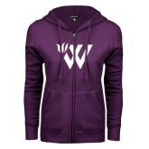 ENZA Ladies Purple Fleece Full Zip Hoodie-Waldorf W Academic Mark