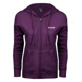 ENZA Ladies Purple Fleece Full Zip Hoodie-Waldorf University Academic Mark Flat