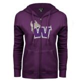 ENZA Ladies Purple Fleece Full Zip Hoodie-Waldorf W