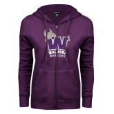 ENZA Ladies Purple Fleece Full Zip Hoodie-W Waldorf Warriors