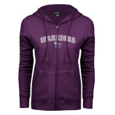 ENZA Ladies Purple Fleece Full Zip Hoodie-Arched Warriors w/ Waldorf W