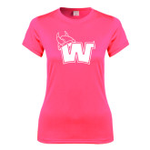 Ladies Performance Hot Pink Tee-Waldorf W
