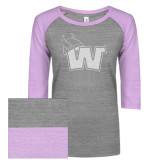 ENZA Ladies Athletic Heather/Violet Vintage Baseball Tee-Waldorf W