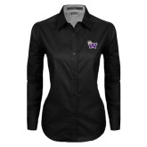 Ladies Black Twill Button Down Long Sleeve-Waldorf W