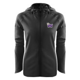 Ladies Tech Fleece Full Zip Black Hooded Jacket-Waldorf W